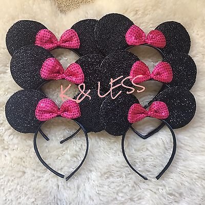 20 pc Minnie Mickey Mouse Ears Headbands Shiny Silver Pink Birthday Party Favors