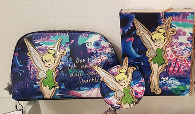 BNWT Disney Primark Tinkerbell make up cosmetic toiletry hand bag coin purse