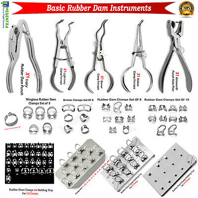 Dental Rubber Dam Instruments Dentist Tools Endodontic Clamps Forceps Pliers New