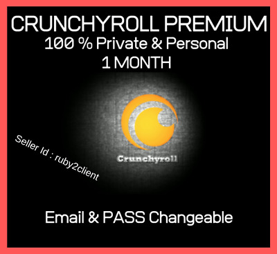 Crunchyroll Premium Account 30 Days Pass 100% Personal Email & Pass Changeable