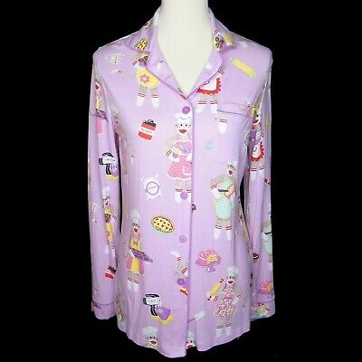 NWT Nick /& Nora Violet Pajama PJ Set Small Medium Purple Sock Monkey Baker