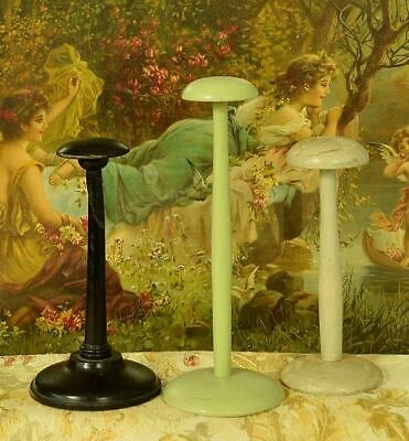 Three Charming Antique French Turned Wood Timeworn Painted Hat Stands
