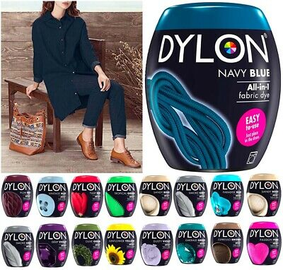 22 COLOURS DYLON FABRIC & CLOTHES FABRIC DYE MACHINE WASH 350g POD INCLUDES SALT