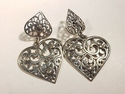 Pair large vintage modern heart shaped pierced earrings