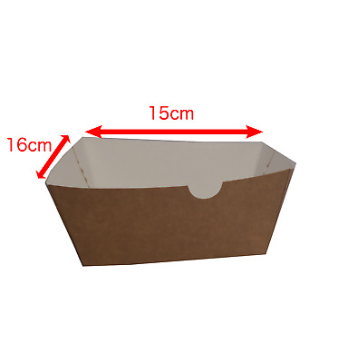 100 Kraft Disposable Takeaway Square Burger Tray Box Food biodegradable box