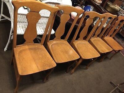 Set Five Solid Tiger Oak Antique Dining T Back Chairs Carved Feet Quarter sawn
