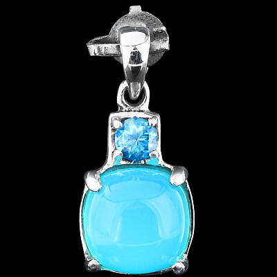 100% Natural 10Mm Blue Chalcedony & Swiss Blue Topaz Sterling Silver 925 Pendant
