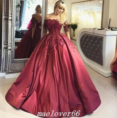 Dark Red Flower Appliques Quinceanear Dresses Off Shoulder Prom Party Gowns
