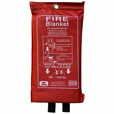Faboer Quick Release Home & Office Safety Large Fire Blanket In Case 1m X 1m RED