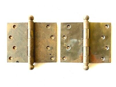 """Antique 4"""" x 5"""" Cannon Ball Door Hinges Set of 2 DH138"""