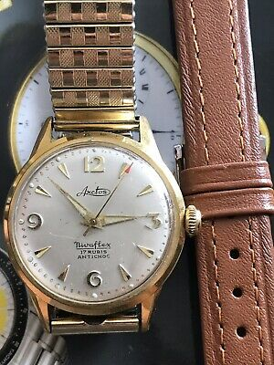 VINTAGE ARCTOS NIVAFLEX 17 Jewels Swiss Made Hand-winding Gold Filled Working !!