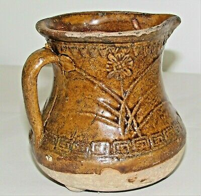 """Chinese Tang Tomb Burial Pottery Ewer Small c.7th-8th C / 4.5"""" d x 4.5"""" h"""