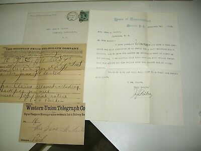 1888 Letter from US Dept. of Interior, signed by New York REP. James J. Belding