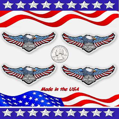 Four (4) Sparkling  American Eagle Harley Davidson  Logo Stickers w/Chrome Back!