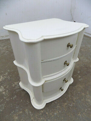 vintage,mini,bow front,small,white,curved,chest of drawers,side table,end table