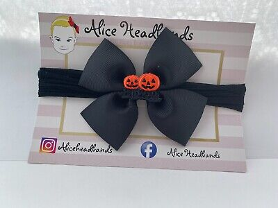 Halloween Baby Headbands Pumpkin Bands Baby Girl Newborn Elastic Band Black Bow