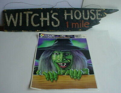 WITCH'S HOUSE 1 MILE SIGN HALLOWEEN Green Face WITCH Window Cling Decoration LOT