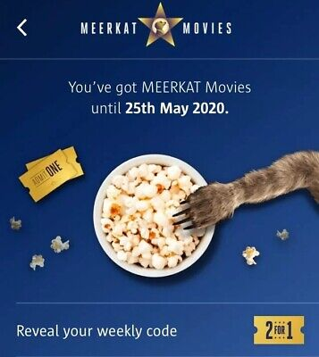 Meerkat Movies 2 For 1 Cinema Code *INSTANT MESSAGE* Tuesday Or Wednesday