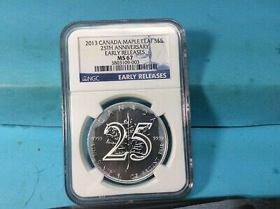 2013 Canada Maple Leaf 25Th Anniversary Ngc $5 Ms67 One Ounce .9999 Fine Silver