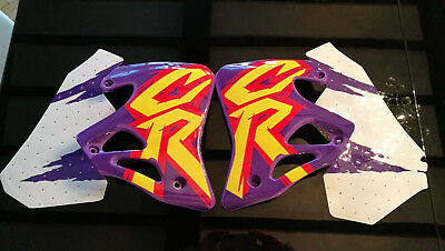 Honda CR 125 250 1995 1996 Purple Radiator shrouds Covers Left Right UFO + Decal