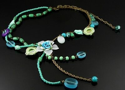 Antique Bronze Statement Necklace With Blue Flower Pendant Mirror Charms & Beads