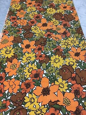 "Mod Groovy 60s 70s Floral Linen Fabric Remnant 41"" Wide 1 Yd + 33"""