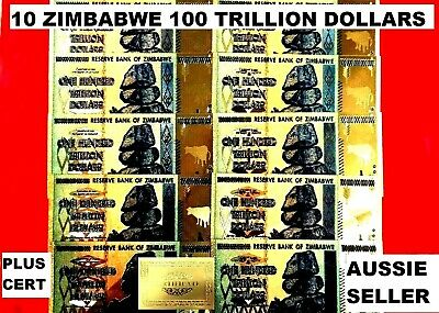 10 x ZIMBABWE 100 TRILLION BANKNOTE 24K GOLD COLOURED 2008 NOTE .97CT + g cert