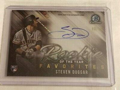 2019 Bowman Mega Box Baseball STEVEN DUGGAR AUTO ROY Favorites Insert Card # /99