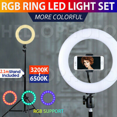 "10"" RGB LED Ring Light Dimmable Lighting Circle Diffuser with Stand Make Up USB"
