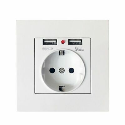 White Panel Switch Dual USB Port Adapter Power Outlet Wall Charger EU Socket