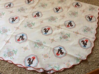 """Portugal Good Luck Rooster Large Tablecloth Scalloped Edge 66"""" x 90"""" Oval"""