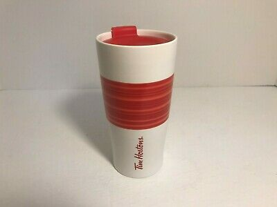 Tim Hortons Ceramic Travel Coffee Tumbler Mug Red Stripe Limited Edition NEW