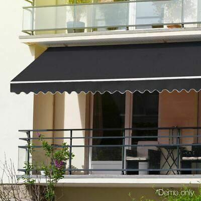 Retractable Folding Arm Awning Outdoor Canopy Sunshade with Wall Bracket Grey