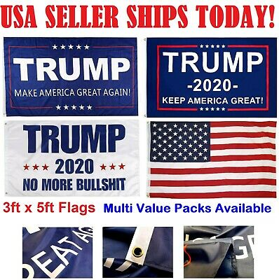 3x5 Ft Trump Flag - Make / Keep America Great Again MAGA, No More BS, 2020 USA
