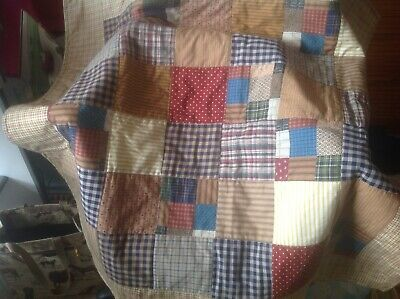 Simple Quilt In Browns.  Approx 95 X 90