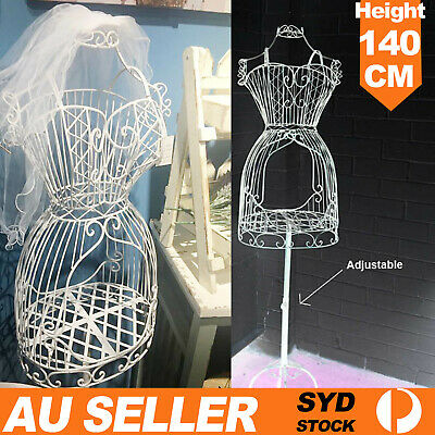 Female Metal Mannequin Vintage Iron Clothes Wire Dress Boutique Holder Display