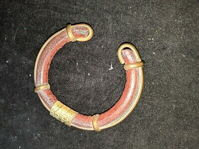 "Ethnic tribal handmade leather, copper old cuff african ? approx 7""L antique"