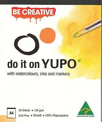 A4 Yupo Ultra Synthetic Paper Pad 158gsm 20 Sheets Alcohol Ink Watercolor Paints