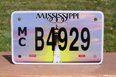Mississippi Lighthouse MOTORCYCLE License Plate (RANDOM PLATE#)