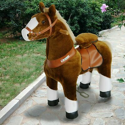 PonyCycle Ride On Toy Horse Brown White Hoof Medium Size for Ages 4-9 Years