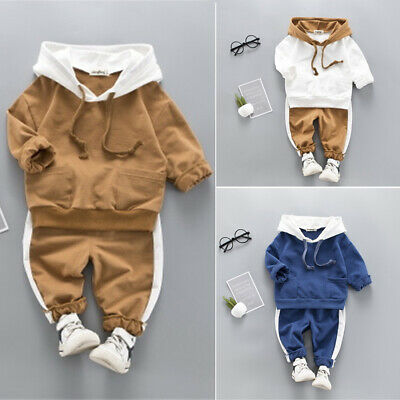UK Kid Baby Girl Toddler Boy Hooded Sweatshirt Pants Outfit Clothes Tracksuit