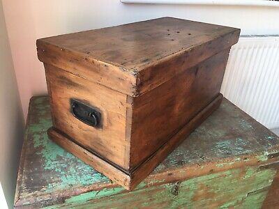 Antique English Handmade Pine Fitted Tool Chest Small Trunk Storage / Sewing Box