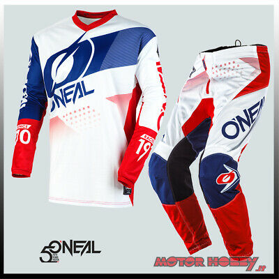 Completo Cross Enduro O'neal Element Factor Bianco Blu Rosso Tg. 36 - Xl