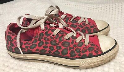 Girls Converse All Star Sz 4 Double Tongue Pink Grey Leopard Print Spots Youth