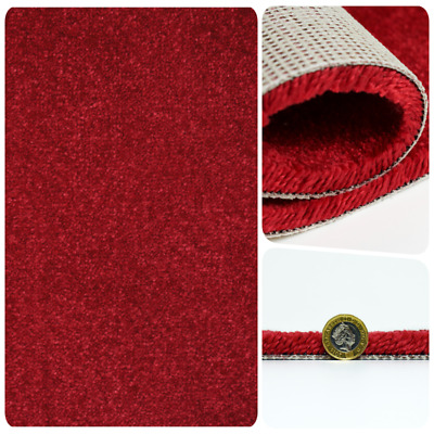 SUPERSOFT 13mm Thick Ruby Red Saxony Action Back 5m Wide Carpet Remnant/Roll End