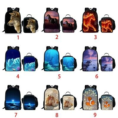 Horse Wolf Sky School Bags Girls Boys Backpack Lunchbox Laptop Rucksack Daypack