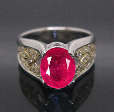 Real 14KT White Gold 1.95Ct Natural Burmese Red Ruby EGL Certified Diamond Ring