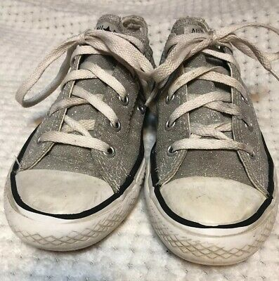 Girls Converse All Star Silver Sparkles Shiny Sz 2 Youth Sneaker Shoe RARE!