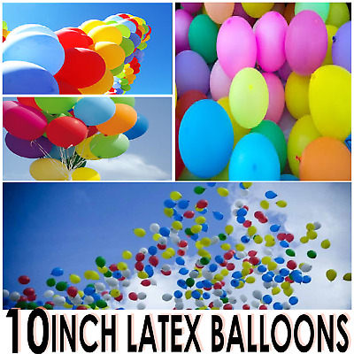 "100 X Latex Balloons 10"" Size Helium Air High Quality 10 Inch Plain Party Baloon"