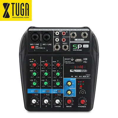 A4 4 Channels Audio Mixer Sound Mixing Console + Bluetooth USB Record, 48V Power